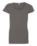 Junior's Fine Jersey Longer Length Deep Scoopneck T-Shirt
